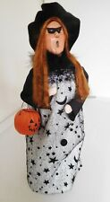 """2017 Byers Choice Caroler 13"""" Witchy Woman Witch Red Hair w/ Pumpkin,Mask & Box"""