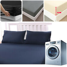 """Extra Deep Fitted Sheet 16""""/40CM 100% Poly Cotton 200TC  Bed Sheets Full Size"""
