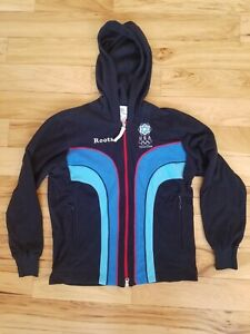 Roots Olympic USA Torino 2006 Track Jacket Full Zip Unisex Size XS Fleece Hoodie