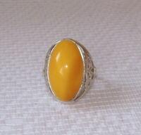 Phenomonal Egg Yolk Yellow Baltic Amber Bracelet 8 Vintage 1970/'s Sterling Silver Linking Poland
