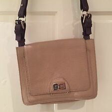 WHISTLES CREAM LEATHER HANDBAG WITH BROWN LEATHER STRAP