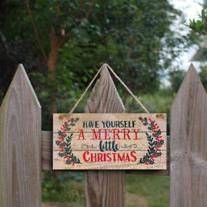 Wooden Door Hanging Panel Sign Christmas Tree Ornament Christmas Decoration0 Fs