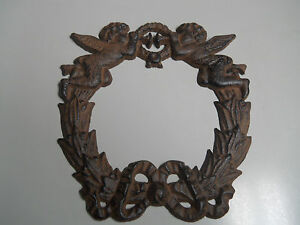 Cast Iron Victorian Style ANGEL WREATH Plaque Sign Rustic CHERUB CHRISTMAS