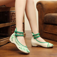 Ladies Wedge Heel Ankle Strap Embroidery Shoes Retro Ethnic Floral Volk Shoes