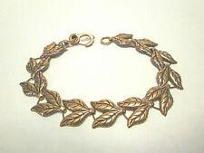Vintage Copper Leaves Bracelet Leaf Pairs Lobster Claw Clasp