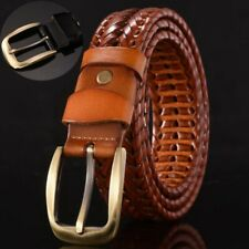 Leather Dress Casual Weave Braided Belts Pin Buckle Waistband Strap Mens
