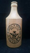 RARE HONEY STONEWARE CROWN CAP GINGER BEER BOTTLE RUTHIN with Pictorial GOAT