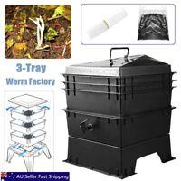 3-Tray Worm Factory Farm Compost Bin Set Vermicomposting Gardening Soil Box