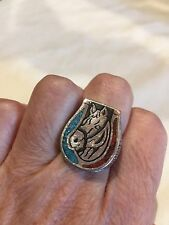 1980's Vintage Southwestern Silver Inlay Size 8 Men's Horse Shoe Inlay Ring