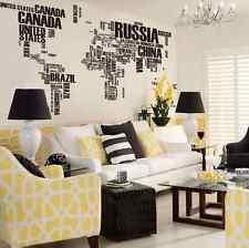 Huge Black World Map Wall Art Wall stickers living room UK reusable UK