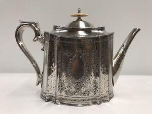 Antique Walker & Hall Silver Plate 1896 Engraved Lidded Teapot