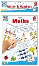 Wipe Clean Maths Book Practice School Word Learn Numbers Marker Pen Help Kid