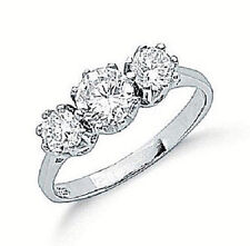 RHODIUM PLATED 925 HALLMARKED STERLING SILVER TRILOGY ENGAGEMENT OR DRESS RING