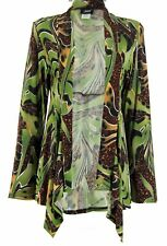 JOSTAR Poly Spandex Knit WATERFALL JACKET TOP olive & brown TRAVEL WEAR  M