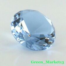 60mm/2.25''_Round Sapphire Glass Crystal Diamond Shaped Paperweight- Light Blue