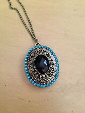Fashion Vintage Blue Jewel Stone Pendant Necklace - Free Shipping