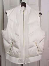 Women's STYLE & CO Puffer Quilted Vest -Cream -Full Zip -Nylon Down -Sz XL -NWOT
