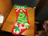 Handmade Christmas Stocking Needlepoint Christmas Tree w/ Candy Canes