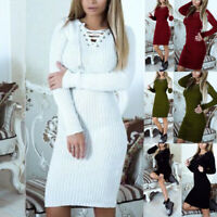 Women's Knitted Jumper Long Sleeve Dress Bodycon Winter Lace Up V Neck Sweater N