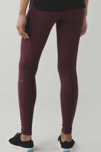 Lululemon Leggings 8 Burgundy Red Striped Wunder Under Cotton