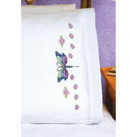 "Janlynn 21-1774 Stamped Cross Stitch Pillowcase Pair 20""X30""-Dragonfly"