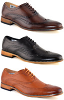 Mens Brand New Goor Black Leather Lined Lace Up Brogue Shoes Formal Size  M014
