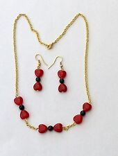 Handmade Ruby Hearts and Blue Sandstone Necklace and Earrings