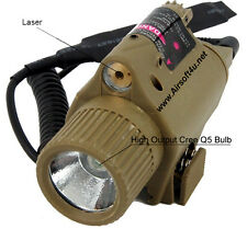 Tactical Airsoft M6 Style CREE LED Flashlight Red Laser Sight 20mm Rail Tan