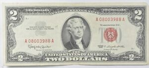 Crisp 1963 Red Seal $2 United States Note - Better Grade *785