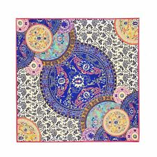 "Silk Scarf Geometric Floral 39"" X 39"" Square Shawl Wrap Pink Trim Twill Silk"