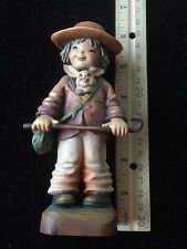 Anri Carved Wood Figurine Limited Edition Friends Boy with Rabbit in Jacket 6""