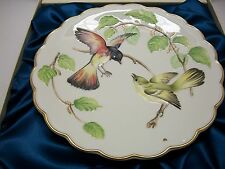 """DOUGHTY BIRDS PLATE 1972 REDSTARTS IN BEECH TREE 1ST ISSUE 9"""" DIA. W/STAND"""