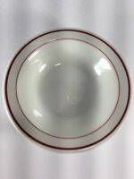 Vitrified Sterling China Co. Liverpool Restaurant Ware Oval Bowl Red Stripes