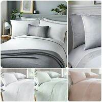 Serene POM POM Bedding Duvet Cover Pillowcase Set Pintuck Quilt Cover Easy Care