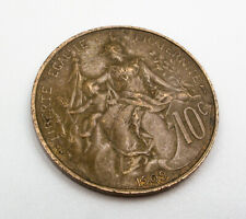1909 France 10 Centimes Coin - KM# 843 - Bronze - Nice Coin!