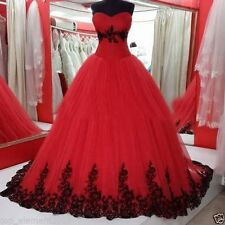 Gothic Ball Gown Wedding Dresses Black and Red Tulle Bridal Gowns Plus SIZE