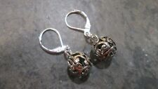 Silver Filigree Ball dangle Earrings with Sterling Silver Leverbacks
