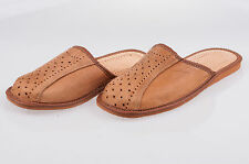 Men`s Leather Slippers 100% Natural Leather Size UK 6,7,8,9,10,11,12Light Brown