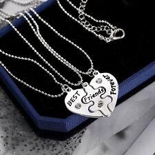 3pcs/Set Versilbert Halskette mit Best Friend Forever Muster Herzförmig Anhänger
