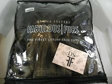 """Donna Salyers Fabulous Furs Faux Fur Sable Throw Blanket Brown 60 x 72"""" New"""
