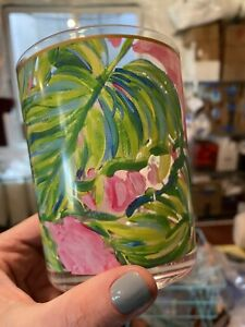 NEW Set of 4 Lilly Pulitzer Acrylic Lo-Ball Glasses Painted Palms Pink & Green