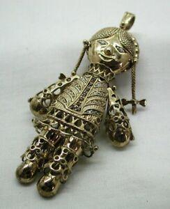 Massive Heavy Gold Gilded Solid Silver Gem Set Articulated Rag Doll Pendant