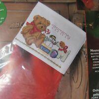 "Bucilla Counted Cross Stitch Teddy Bear 18"" Stocking Kit Designer Bonnie Smith"