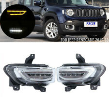 DRL LED Daytime Running Light For Jeep Renegade 2015-2018 Turn Signal Fog Lamp