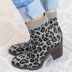 Womens Retro Ankle Sock Boots Block Heels Slip On Stretch Casual Round Toe Shoes