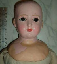 "Antique 28"" Wax Over Papier Mache Doll Black Glass Eyes German ? Tlc"