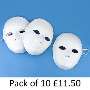 Plain White Fancy Dress/Party/Masquerade Papier Paper Mache Masks Halloween