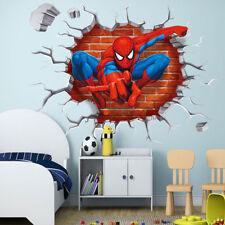 3D Cracked Spiderman Wall Sticker Kids Boy Bedroom Cartoon Decal Mural Fan Gift
