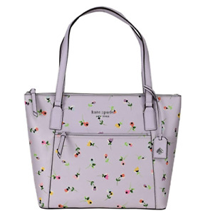 Kate Spade Cameron Pocket Laptop Large Top Zip Tote Wildflower Ditsy Purple