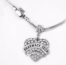 Pharmacy Tech Necklace Pharmacist jewelry Pharmacy Crystal Heart charm necklace
